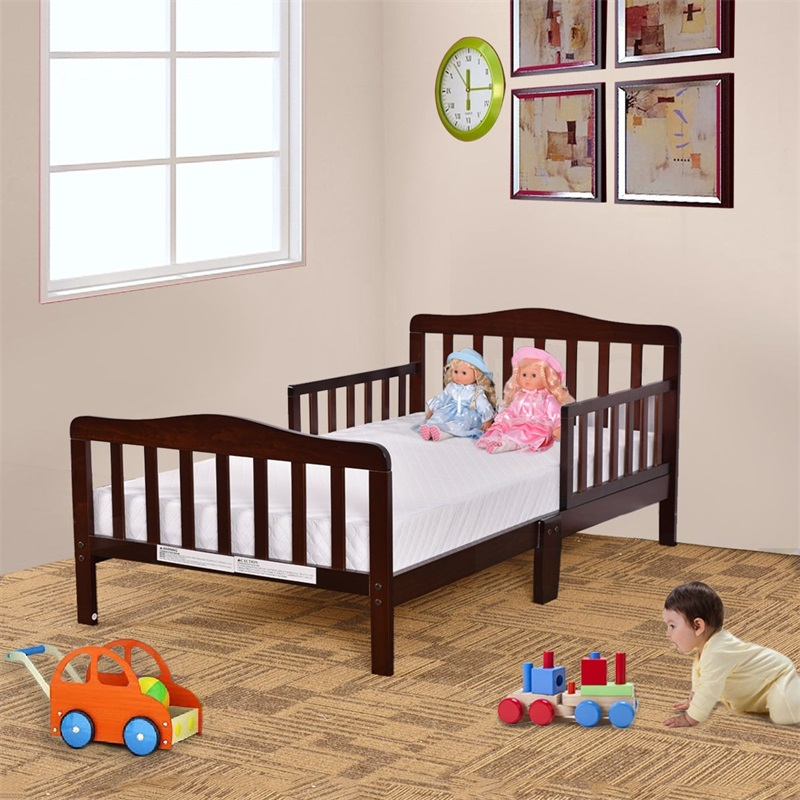 High Quality Baby Toddler Solid Hardwood Stable Bed 2 Side Safety Rails Lead Free Finish Non Toxic Easy To Clean Kids Bed