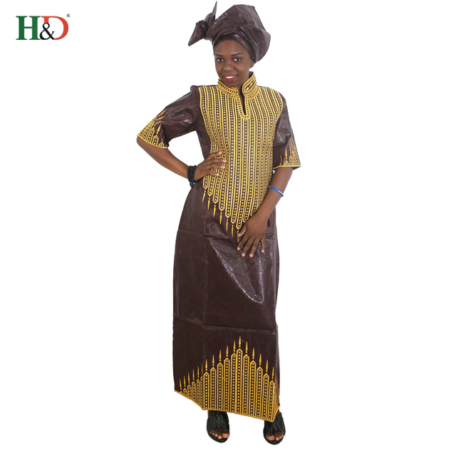 (Free Shipping)New fashion Bazin riche dresses for women collar African cotton headscarf sleeve embroidery dress robes S2433