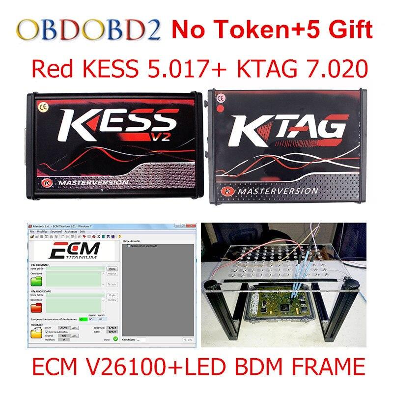 Master Online Red V5.017 V2.23 + KTAG KESS V7.020 V2.23 + LED BDM TELAIO No Gettoni KESS 5.017 + K-TAG K Tag 7.020 ECU programmatore