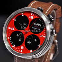 48mm Parnis Big Face Red Dial Black Sandwich Dial Day Date Mens Quartz WATCH Full Chronograph