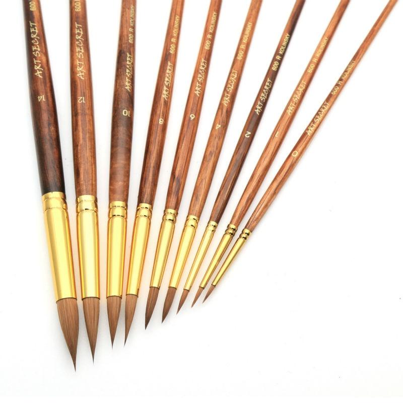 High Quality Pur Kolinsky Watercolor Brush Gold Plated Brass Ferrule Art Brush Oak Wooden Handle Paint Brush 600R bt151 bt151 600r to 220