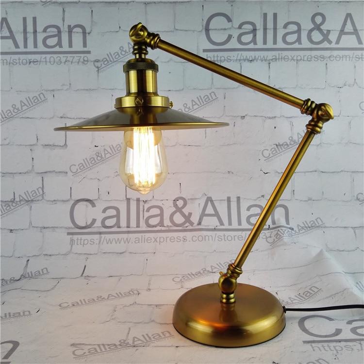 Fashion Adjustable Desk reading light with knob Switch and plug Study lamp brass finished bedroom decoration light bronze