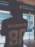 BITCHIMIGHTBE 80 Funny T Shirt Men Baseball Jersey T Shirt Black And White Tees Sport Tops