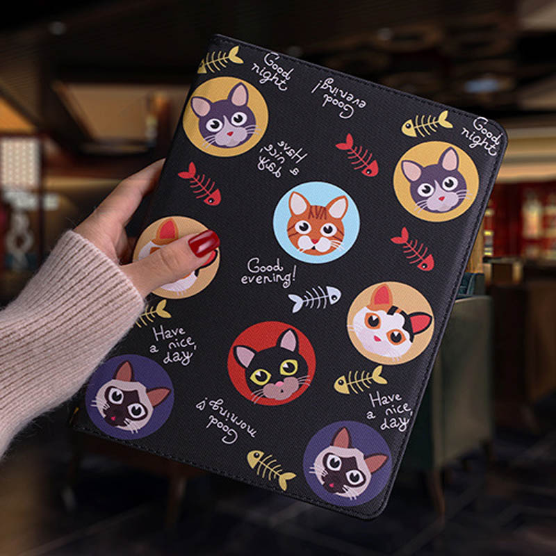Tablet protective case For ipad pro 10.5 Flip smart stand cover pu leather Cute cat Cartoon illustration Case For ipad pro 10 (3)