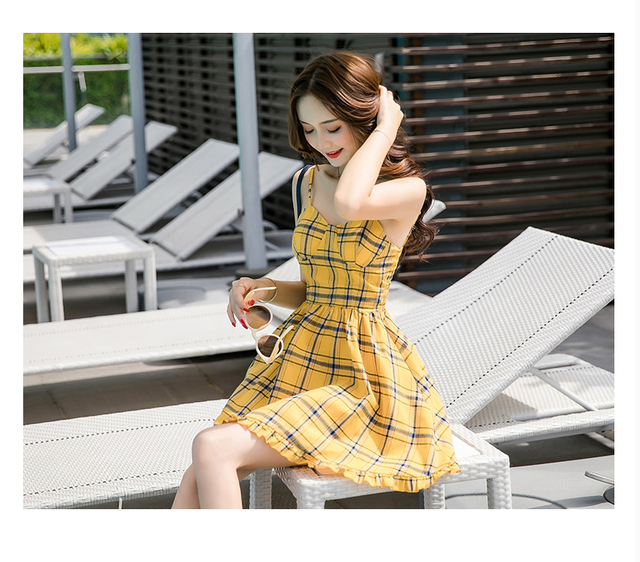L&Y Dress Women New Arrivals Summer Short Dress Fashion Plaid Printed V-Neckline Strap Ruffles Fit and Flare A-Line Mini Dress