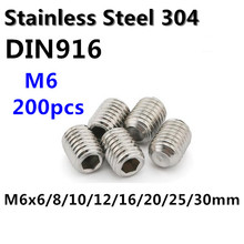 200pcs/lot M6 Stainless Steel Grub Screw DIN916 M6*6/8/10/12/16/20/25/30mm Hex Socket Set Screw