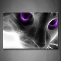 Framed Wall Art Pictures Cat Purple Eyes Canvas Print Animal Modern Posters With Wooden Frame For Home Living Room Decor