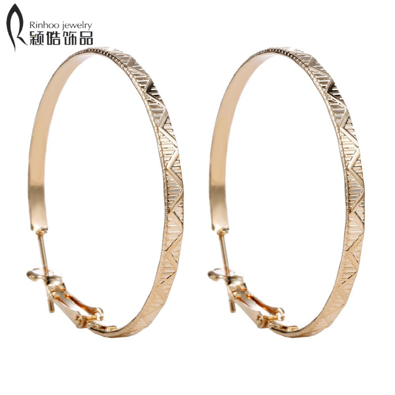 Cheap large basketball wives Earrings For Women new Big Hoop Earrings Fashion Gold Wedding Hoop Earrings For Bridal
