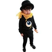 2016 новые зимние костюмы для мальчиков осень зима дети костюм мультфильм глаза напечатаны детей одежда устанавливает сгущает руно baby set