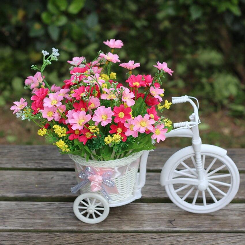 Flores Artificiais Atacado Sutra Arranjo De Dekorasi Rumah 1 Set Bunga Buatan Dalam Hias Pot Dengan Keranjang Sepeda Di Kering Dari