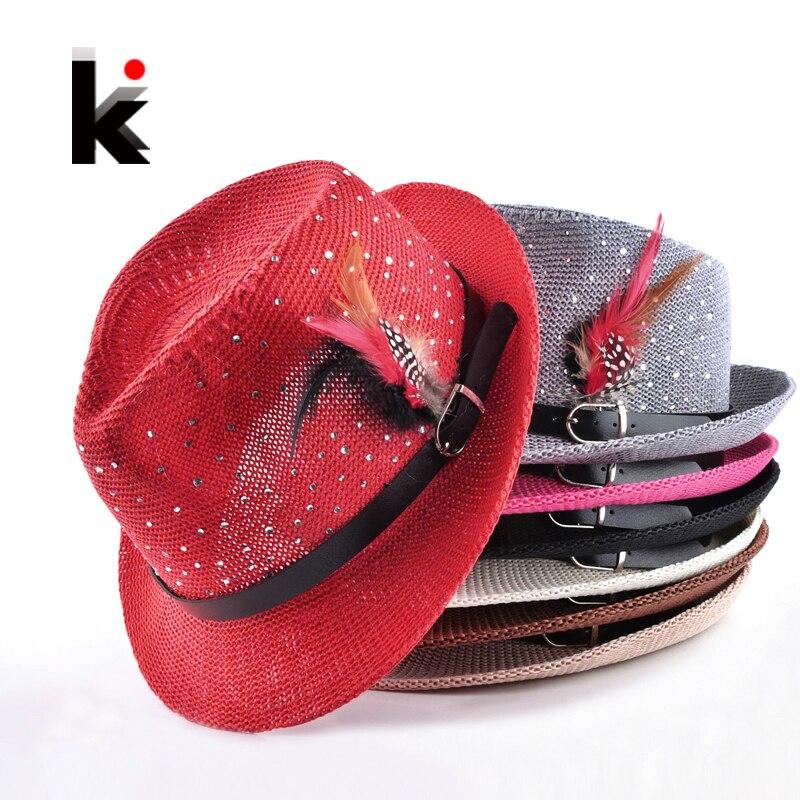 Fashion Summer Unisex Fedoras Caps Panama Straw Hat Men's Sun Beach Feather Cap Breathability Hats For Women chapeu feminino 1