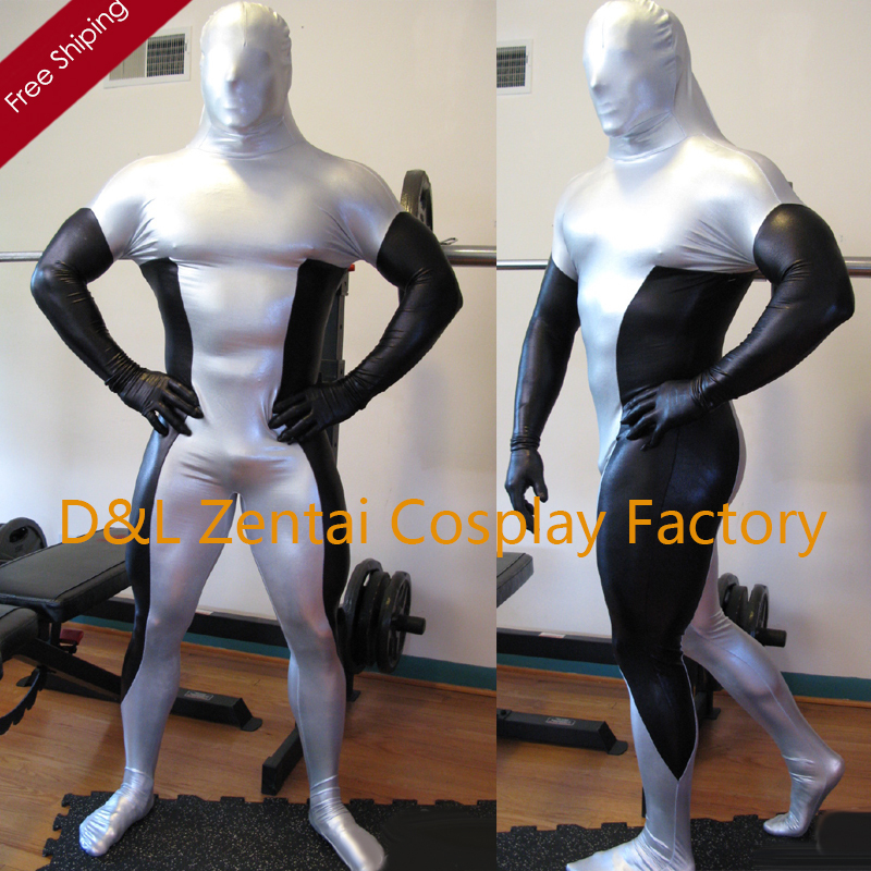 Free Shipping DHL 2016 Sexy Costume <font><b>Black</b></font> & <font><b>Silver</b></font> <font><b>Shiny</b></font> <font><b>Metallic</b></font> <font><b>Full</b></font> <font><b>Body</b></font> <font><b>Zentai</b></font> Suit for Men SM1545