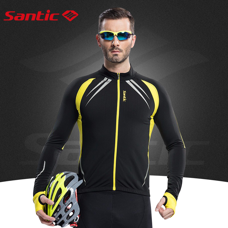 Santic Men Cycling Clothing Red Winter Fleece Long Sleeve Bike Yellow Men Cycling Thermal Jacket Autumn For Cycling C01023 цены