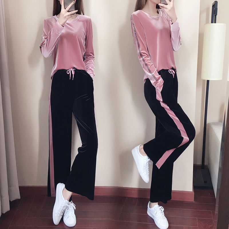 bdcfb82614 Spring /Fall /2018 Women's Gold velvet Brand Velvet fabric Tracksuits  Velour suit women Track suit Hoodies and Pants