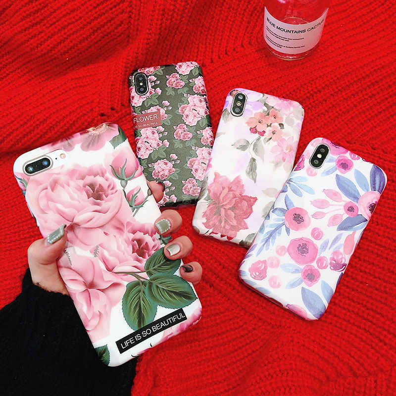 Retro Flower Soft TPU Silicone Case For iPhone X 6 6S Plus XR XS Max Summer Vintage Floral Leaves Back Cover For iPhone 7 8 Plus
