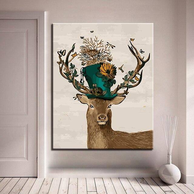 Diy Mewarnai Minyak Lukisan Dengan Angka Gambar Topi Bunga Rusa
