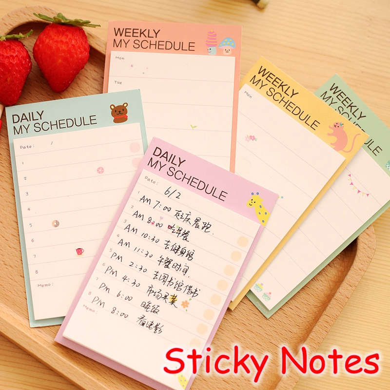 [YOOFUN] (24 Pieces/Lot) Cute Korean Weekly And Daily Planner / Kawaii Sticky Notes / Mini Memo Pad / Post It Notes UP-8739