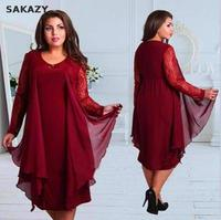 Sakazy Plus Size L 6xl Pathcwork Lace Sleeves Elegant Dress Fashion Women Clothing Party Evening Fat