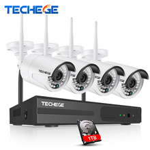 Techege 4CH Wireless 1080P NVR Play& Plug 720P HD System Outdoor 1.0mp IP WIFI Camera IR Night Vision Surveillance CCTV System