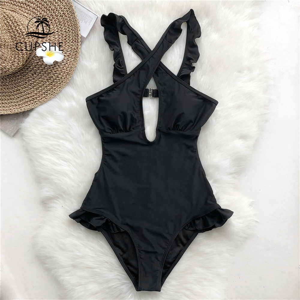 d61d7500f87 Detail Feedback Questions about Cupshe Lovely Girl Cross One piece Swimsuit  Women Sexy Halter V neck Dot Print Bikini 2019 Summer Female Beach New  Swimwear ...