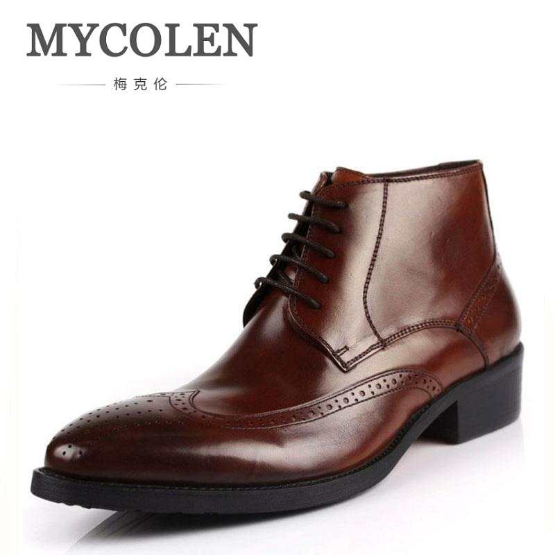 MYCOLEN NEW Fashion High Quality Dress Boots Wedding And Party Genuine Leather Lacing Ankle Pointed Toe Men Boots Shoes Black red men wedding dress shoes pointed toe ankle boots genuine leather botas hombre cowboy military boots metal decor men flats