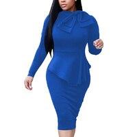 Women Office Dress Ruffles Bow Neck Bodycon Dresses Elegant Work Business Peplum Bodycon Autumn Long Sleeve