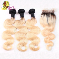 Facebeauty Brazilian Human Hair 2 Tone Dark Roots Ombre Blonde Hair 3 Bundles With Lace Closure