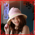 Newly women large brim summer sun hat with a bow lady girls lace straw beach hat