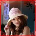 Recién mujeres de gran capitalización verano ala del sombrero del sol con un arco de señora girls lace de paja sombrero de playa