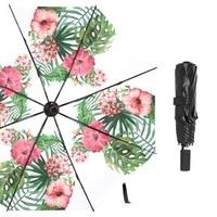 Susino Tropical Flower Sun Umbrella UV Protection 8 Ribs Manual Open Close Pongee Black Coating Rain Pink Folding Umbrella