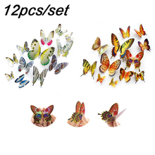 цены 12pcs/set 3D Butterfly Single Layer Gold Silver Wall Sticker on The Wall Home Decor for Decoration Magnet Fridge Stickers