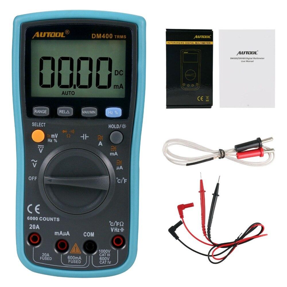 Prix pour MD400 Multimètre Numérique 6000 Points Grand LCD Écran Affichage Multimètre Affichage De Basse Tension AC DC Température Mesure Outil