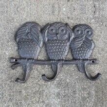 Rustic Iron Three Owls Key Rack-Vintage Rack- Decorative Rack - Nautical Wall Hanging