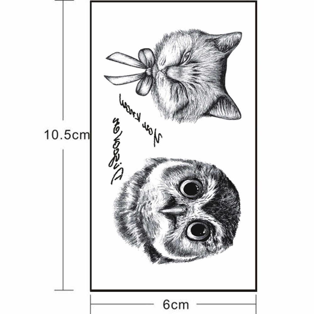 حار الوشم ملصق للماء المؤقتة الجسم 5 قطعة للماء البومة المؤقتة الوشم 3D زهرة وهمية الوشم ملصق Y716