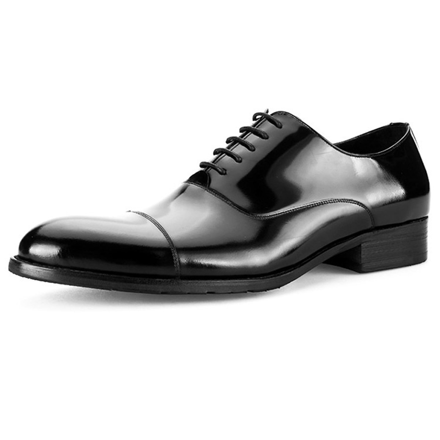 British Style Men's Shoes Round Toe Black Men's Leather Business Formal Dress Genuine Leather Shoes Men Bright Leather Shoe 11