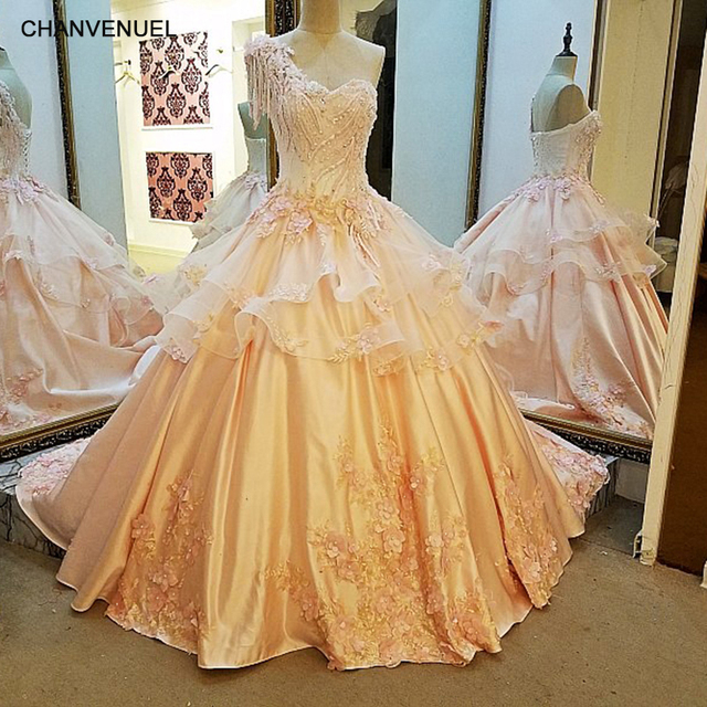 LS35769 Long Evening Dresses For Wedding Corset Back Ball Gown 3D Flowers Party Dress Robe