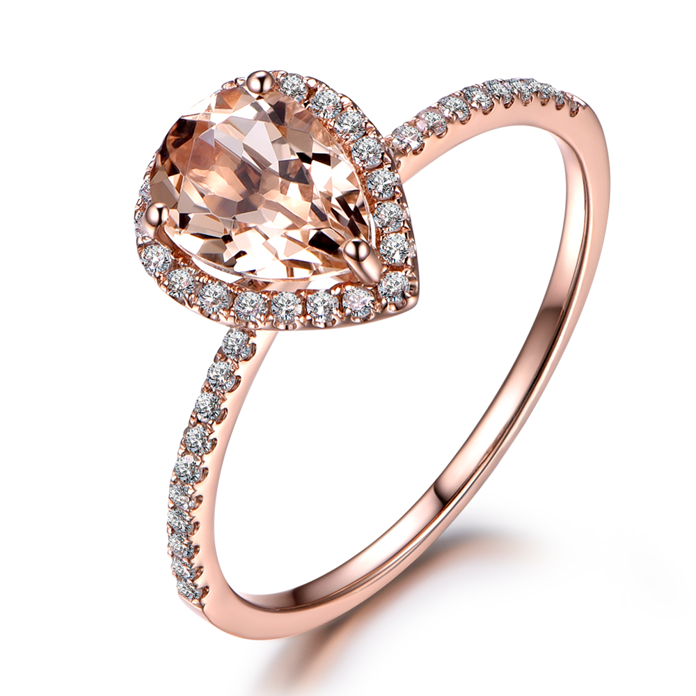 MYRAY 14k Rose Gold 6x8mm Natural Genuine Pink Morganite Gemstone Diamond Vintage Women ...