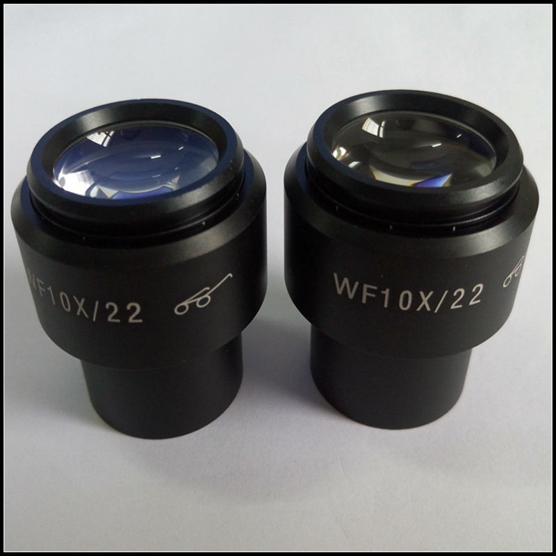 ФОТО A Pair of WF10X 22mm Wide Field High Eye Point Microscope Eyepiece Lens with Eye Cups High Eye Point Mount 30mm