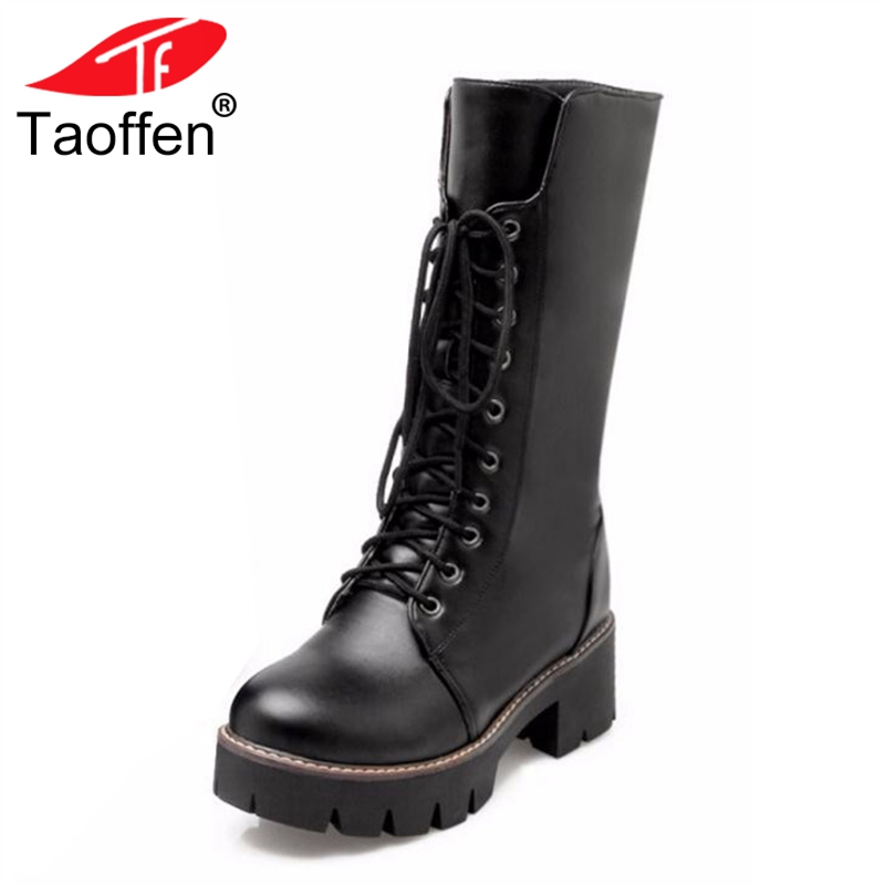 Taoffen Women Winter Boots Woman Round Toe Platform Knee Boots Ladies Winter Warm Thick Fur Martin Boot Woman Shoes Size 34-43