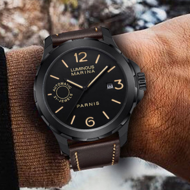 2018 New Arrival Parnis 44mm Mens Watches Miyota Luminous Hands Mechanical Watches Luminous Waterproof Black Dial Watch Men Gift
