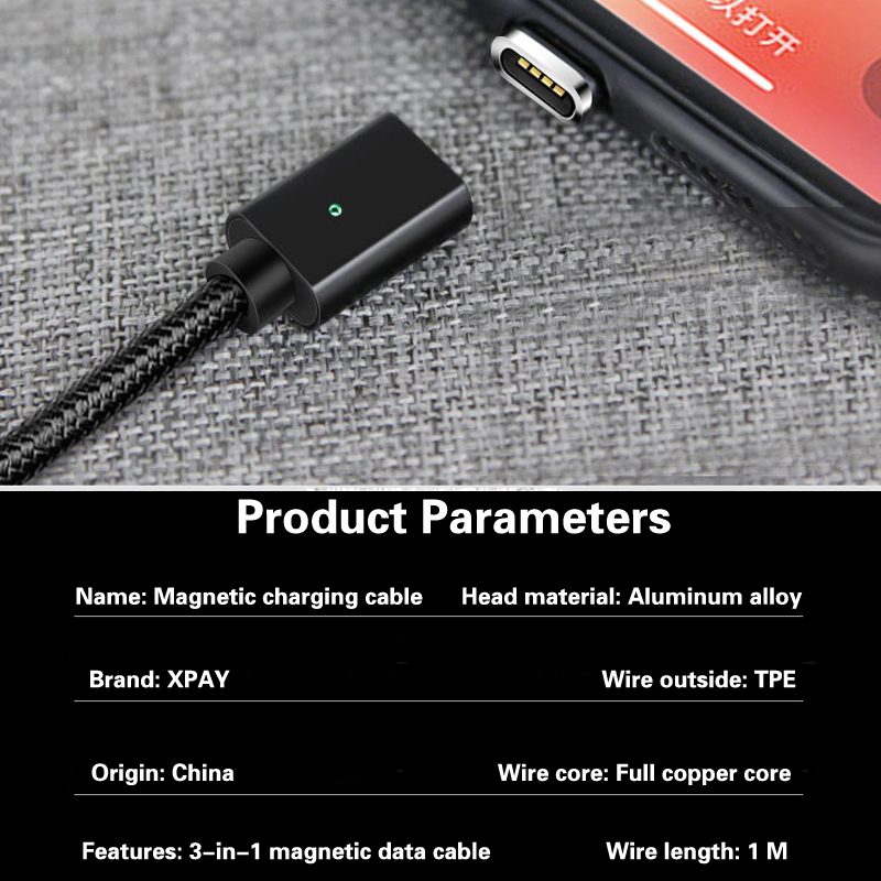 Magnetic Charge Cable 1M Micro USB Cable For iPhone XR XS Max X 8 7 6 S Magnet Charger USB Type C Cable LED Charging Wire Cord in Mobile Phone Chargers from Cellphones Telecommunications