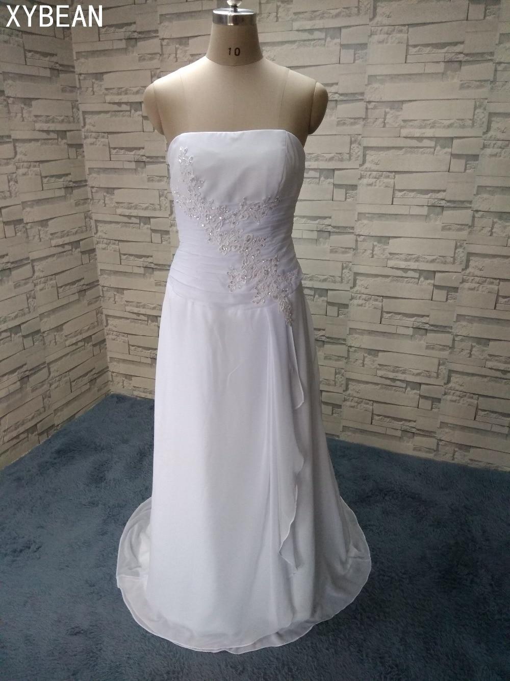 2018 Pengiriman Gratis Baru! Gaun Panjang Sifon Tanpa Tali Dengan Kereta Gaun Pengantin Putih & Gading Dalam Stok FS050