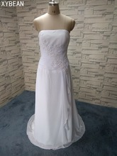 2018 New Free Shipping ! Strapless Chiffon Long Dress With Train White & Ivory Wedding Dresses In Stock FS050