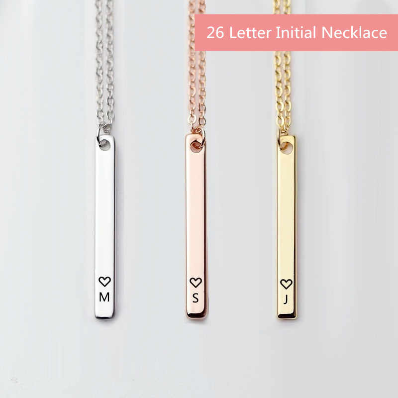 Minimalist Initial 26 Letter Necklace Silver Heart Rose Gold Choker Bar Necklace Women Name Necklace Chain Personalized Jewelry