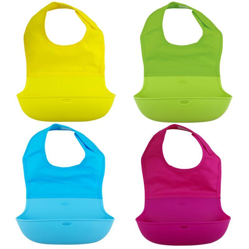 Waterproof Kids Baby Bibs Solid Nylon Silicone Bibs Baby Bibs Baby Feeding Apron Cloths
