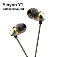 AK Newest Yinyoo Y1 In Ear Earphone Dynamic Drive HiFi Bass Earbuds With Silver Plated Cable Connector Sport Headset Headplug