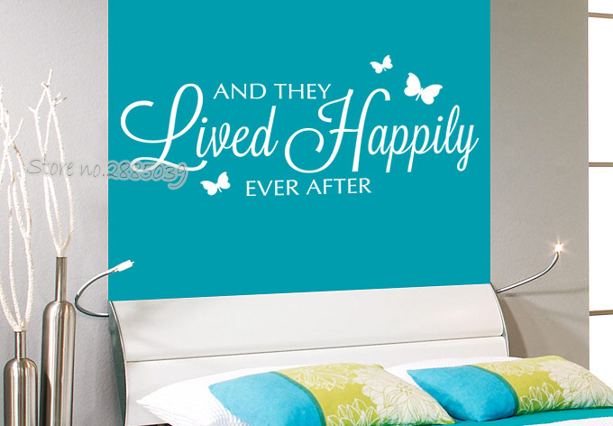 Newest Wall Stickrs Bedroom Romantic Vinyl And they lived happily ever after Wall Decals Quotes Art Wallpaper Home Decor LA613 image