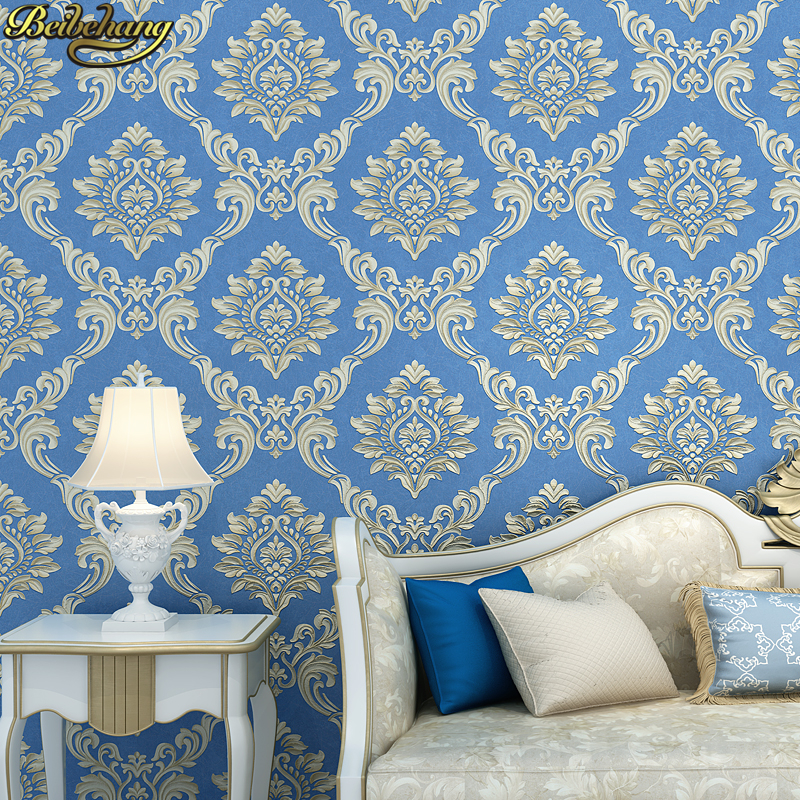 все цены на beibehang papel de parede para quarto European relief Damascus wallpaper for walls 3 d ceiling wall paper home decor living room онлайн