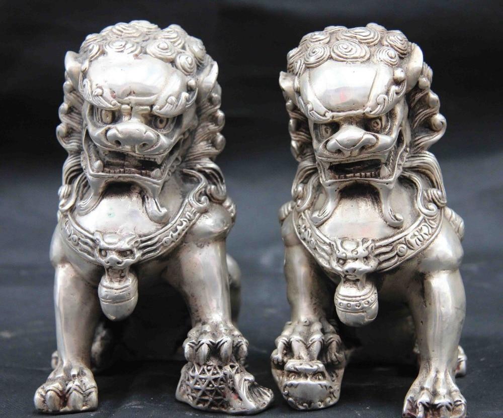 SCY Chinese Royal White Copper Silver Feng Shui Foo Dog Lion Beast Kylin Statue PairSCY Chinese Royal White Copper Silver Feng Shui Foo Dog Lion Beast Kylin Statue Pair