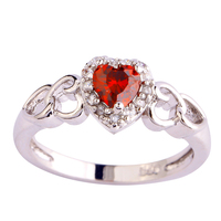 Wholesale Romantic Love Style Jewelry Gift  Heart Cut Ruby Spinel & White Sapphire 925 Silver Ring Size 6 7 8 9 10 11 12